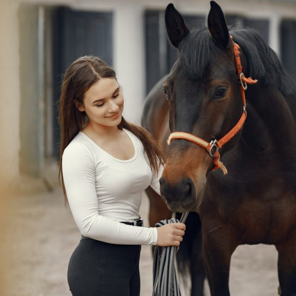 Cute girl with a horse. Lady in a white t-shirt. Woman in a summer ranch.